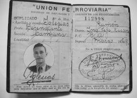 Carnet de la ¨Unión Ferroviaria¨ de mi abuelo Ramón Iglesias, hijo de Don Manuel, creador del Primer Automovil Argentino
