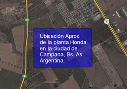 Ubicación aproximada de la planta Honda en la predio cercano a Barrio Santa Florentina, Campana.